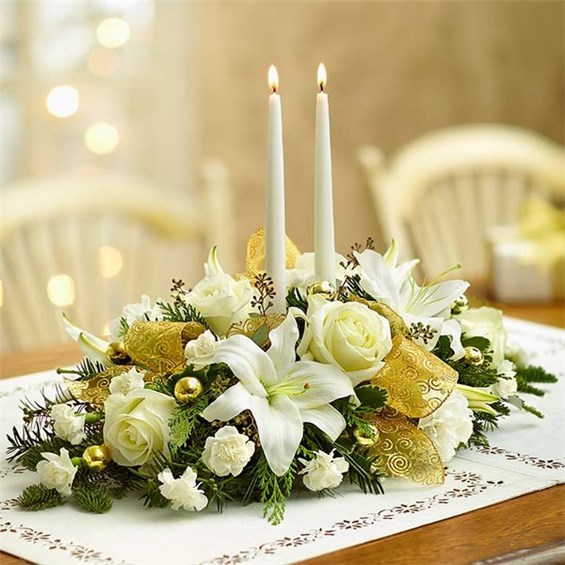 Flowers white and gold holiday centerpiece living